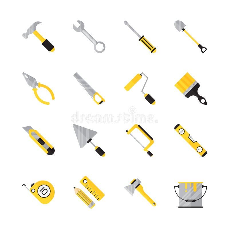 Grupo liso do ícone da ferramenta da construção ilustração do vetor