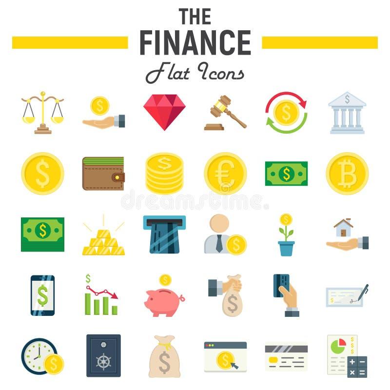 Grupo liso do ícone da finança, coleção dos símbolos do negócio ilustração do vetor