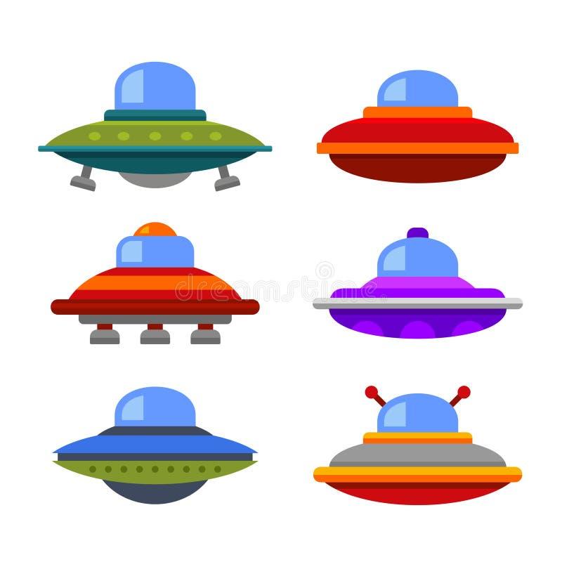 Grupo liso do ícone da nave espacial do UFO do estilo dos desenhos animados Vetor ilustração do vetor