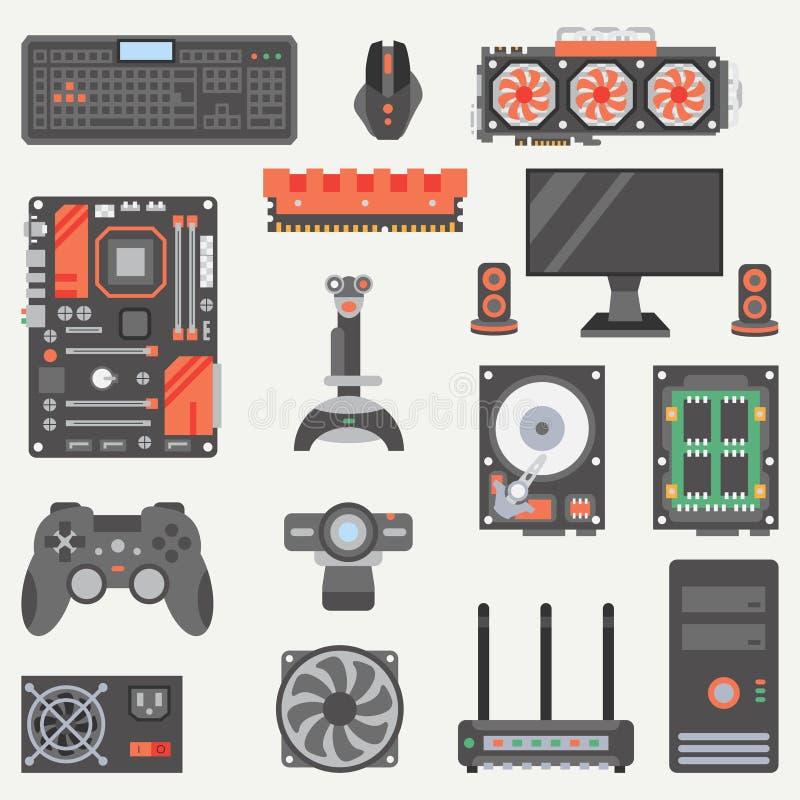 Grupo liso do ícone da peça do computador de vetor da cor Estilo dos desenhos animados Dispositivo do desktop do jogo de Digitas  ilustração do vetor