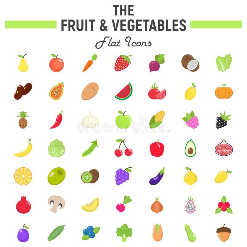 Grupo liso do ícone das frutas e legumes, símbolos do alimento ilustração stock