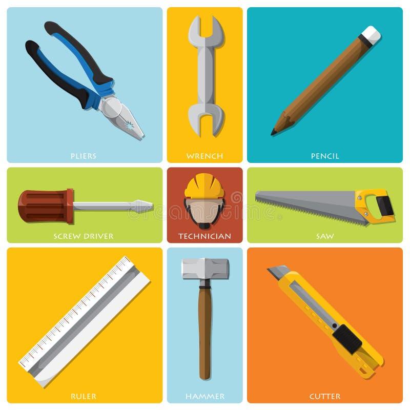 Grupo liso do ícone de And Equipment Tools do técnico ilustração stock
