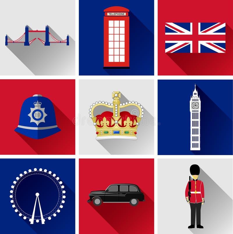 Grupo liso do ícone de Londres ilustração stock