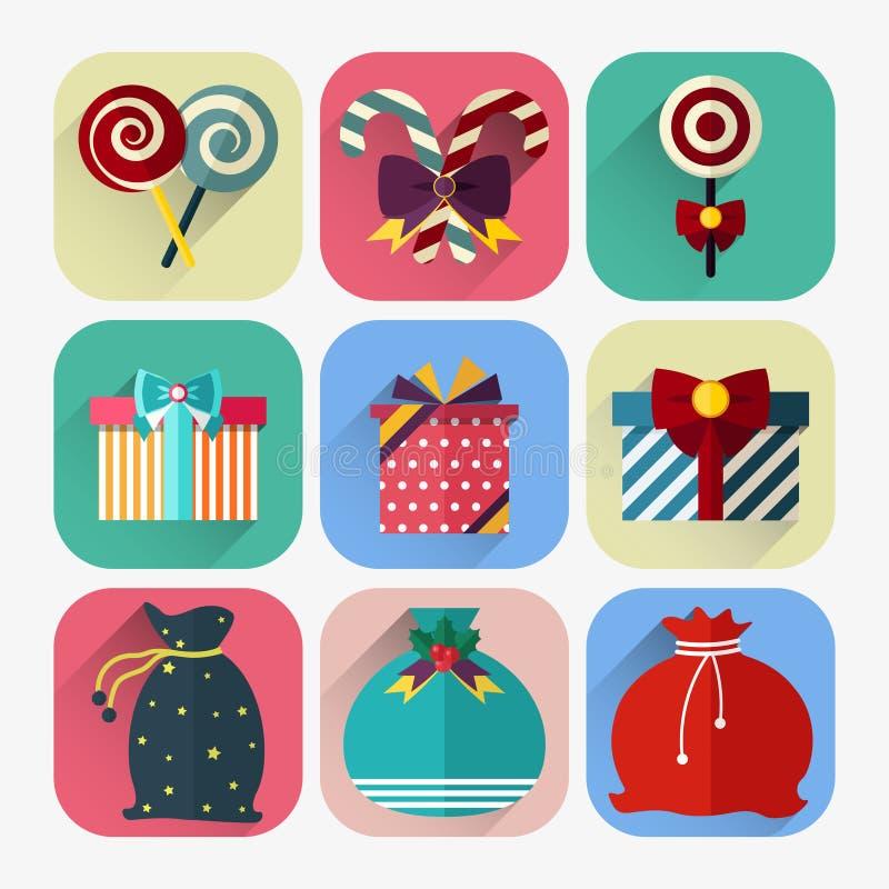 Grupo liso do ícone do ano novo de presente do Natal, de saco de Papai Noel e de pirulito ilustração royalty free