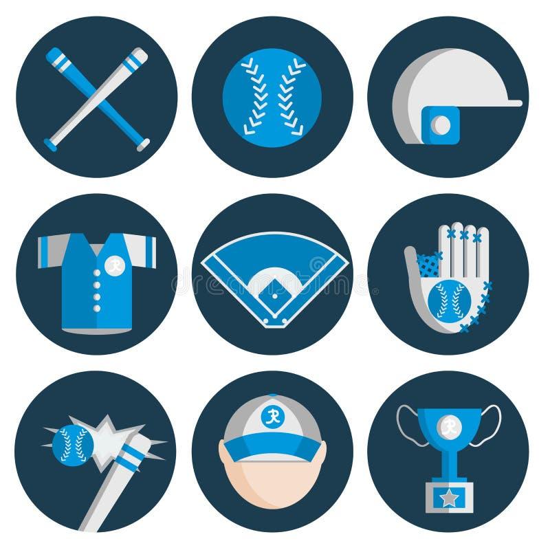 Grupo liso do ícone do basebol ilustração stock