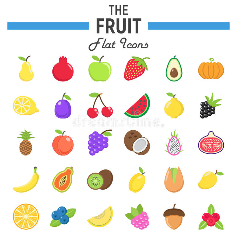 Grupo liso do ícone do fruto, coleção dos símbolos do alimento ilustração royalty free