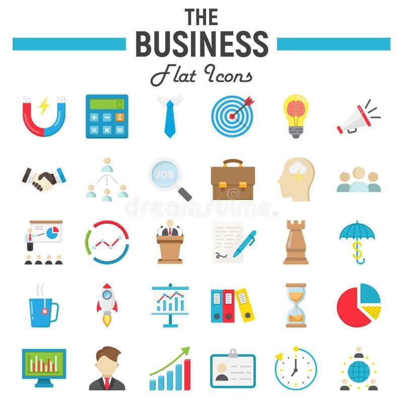 Grupo liso do ícone do negócio, coleção dos símbolos da finança ilustração royalty free