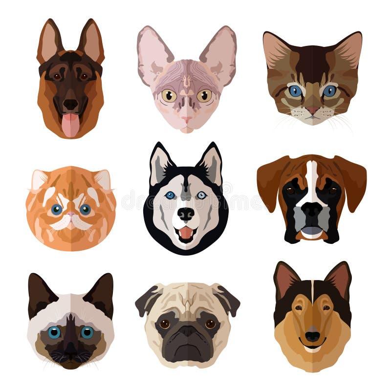 Grupo liso do ícone do retrato dos animais de estimação ilustração royalty free