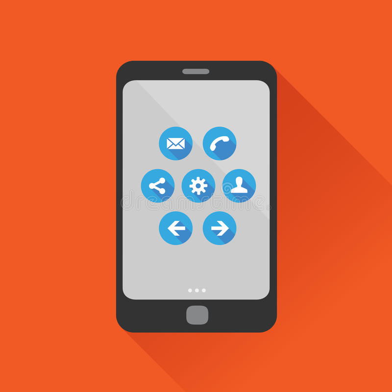 Grupo liso do ícone do vetor do projeto de Smartphone ilustração stock
