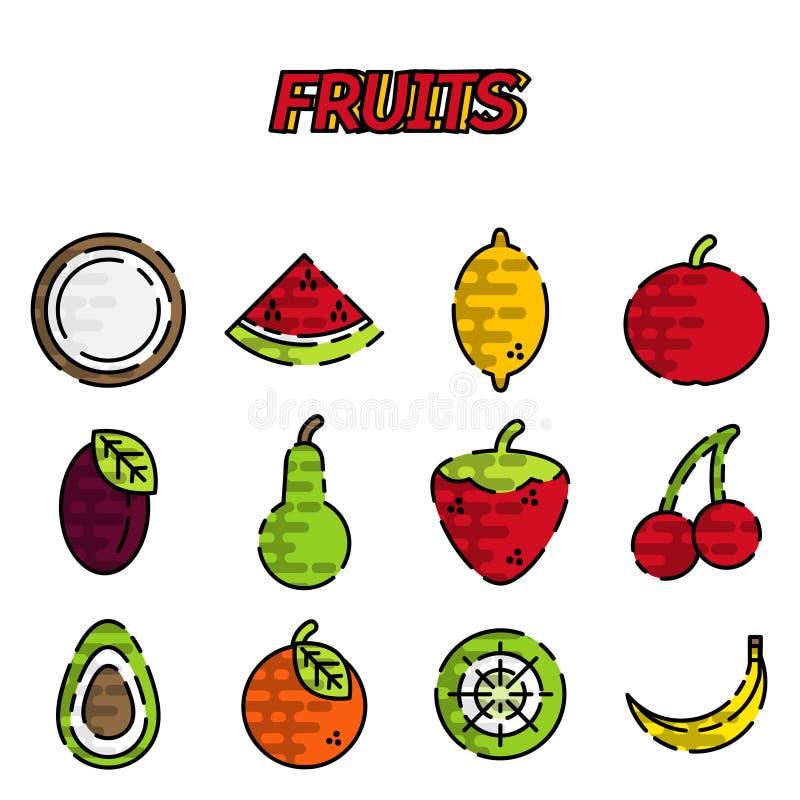 Grupo liso do ícone dos frutos ilustração royalty free