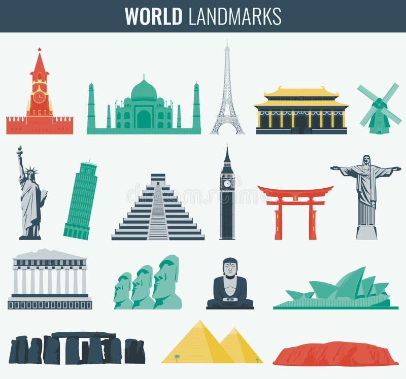 Grupo liso do ícone dos marcos do mundo Curso e turismo Vetor ilustração royalty free