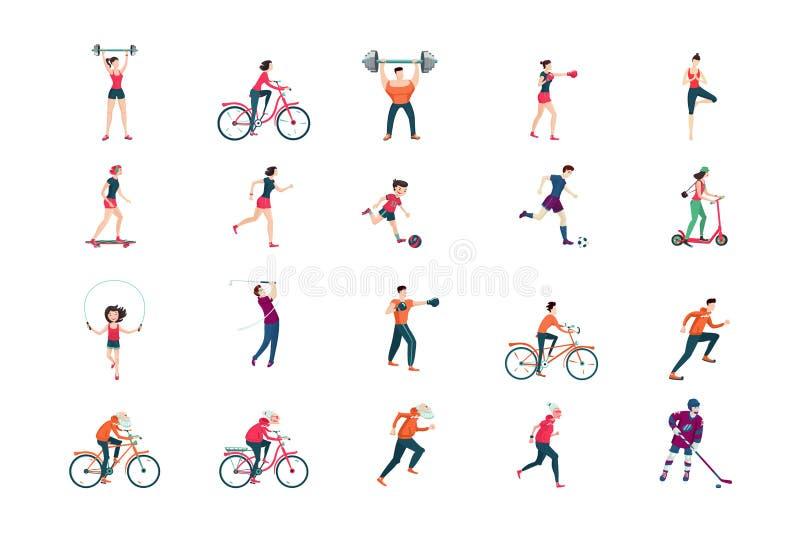 Grupo liso do ícone dos povos da aptidão Ostente o personagem de banda desenhada do homem e da mulher isolado no branco ilustração stock