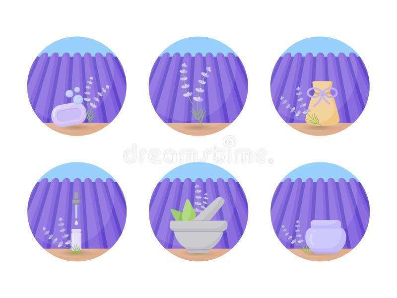 Grupo liso do ícone dos produtos cosméticos da alfazema ilustração stock