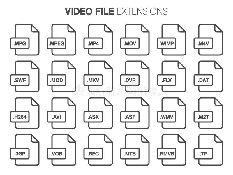 Grupo liso do ícone do estilo Vídeo, filme, tipo de arquivo do filme, extencion Formato de documento ilustração do vetor