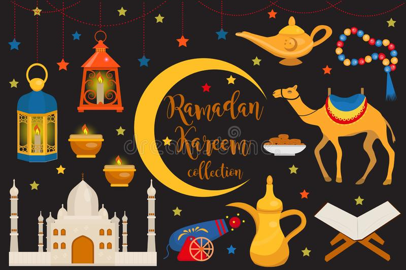 Grupo liso do ícone do kareem da ramadã, estilo dos desenhos animados Coleção de elementos árabes do projeto com camelo, quran, l ilustração do vetor