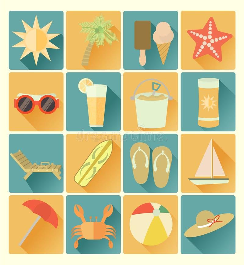 Grupo liso do beachr do verão dos ícones ilustração stock