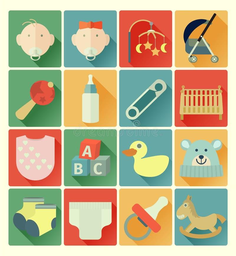 Grupo liso do bebê dos ícones ilustração do vetor