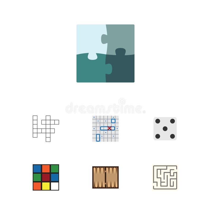 Grupo liso do entretenimento do ícone de gamão, de cubo, de dados e de outros objetos do vetor Igualmente inclui navio, perdido,  ilustração do vetor