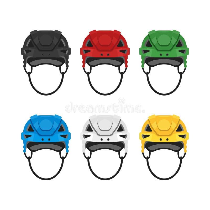Grupo liso do estilo do vetor de capacete do hóquei Ícone para a Web ilustração stock