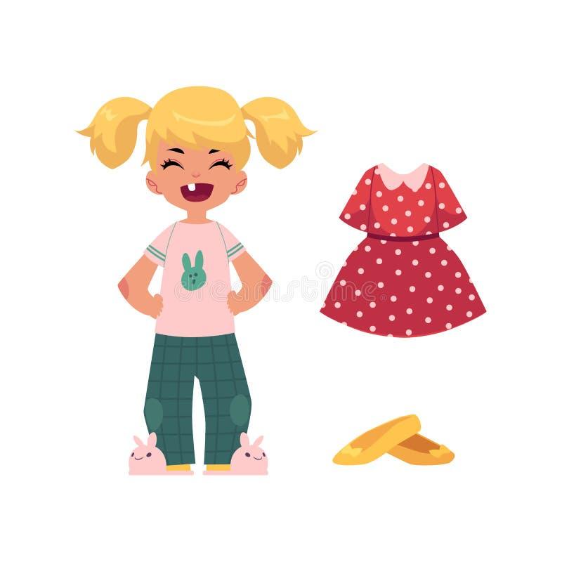 Grupo liso do fato da criança e do equipamento da menina do vetor ilustração do vetor