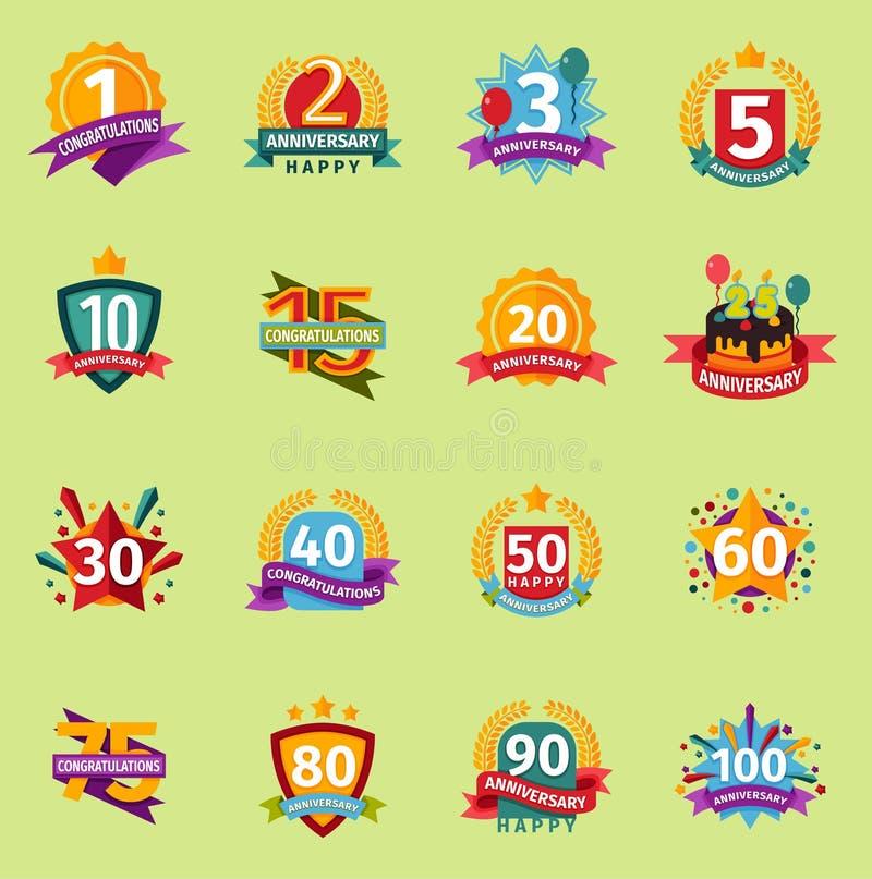 Grupo liso do fundo do projeto da bandeira do crachá dos números do vetor do aniversário do feliz aniversario Ícones do invintati ilustração do vetor