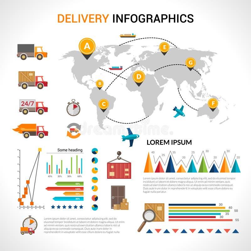 Grupo liso do infographics da entrega ilustração stock