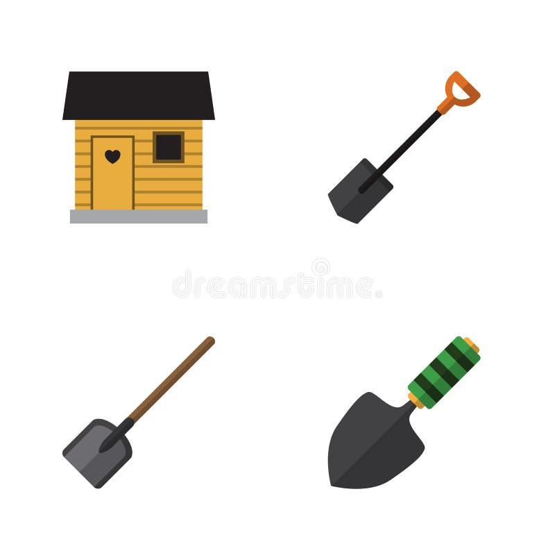 Grupo liso do jardim do ícone de pá, de baia, de pá de pedreiro e de outros objetos do vetor Igualmente inclui a ferramenta, pá,  ilustração stock