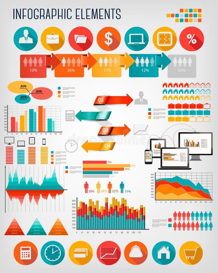 Grupo liso do molde dos gráficos da informação do negócio ilustração stock