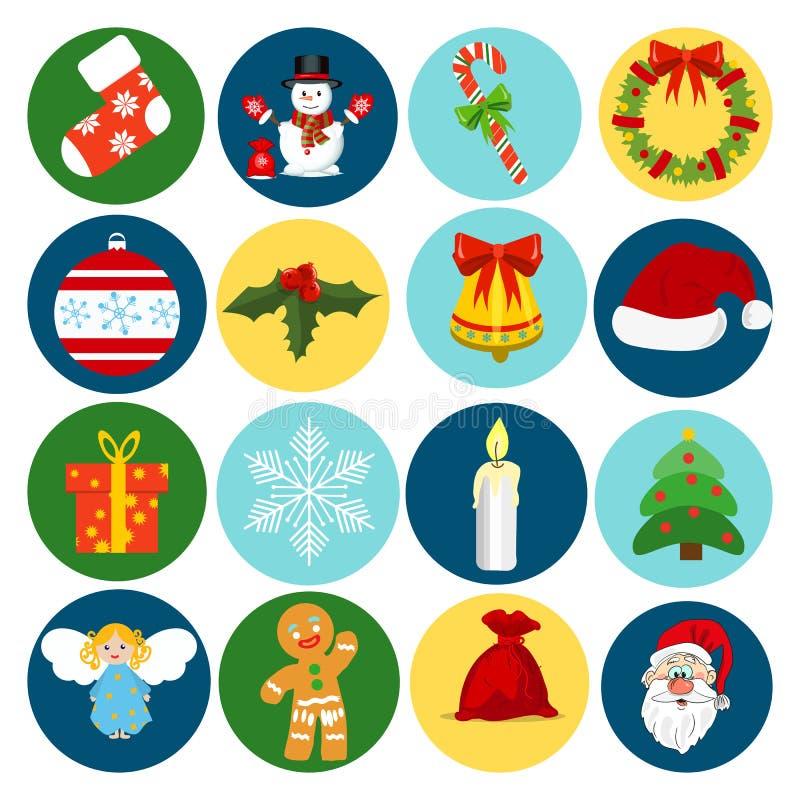 Grupo liso do presente da celebração do feriado da decoração do inverno do estilo dos ícones do Natal Ilustração do vetor ilustração do vetor