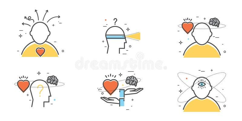 Grupo liso do projeto de intuição, introspecção, antecipação, escolha ilustração stock