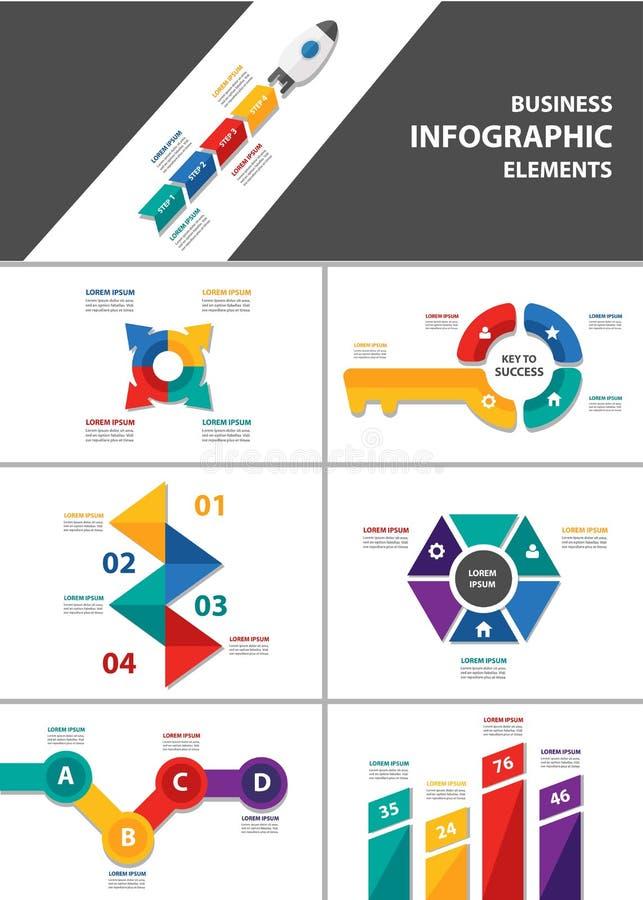 Grupo liso do projeto do elemento infographic de múltiplos propósitos do homem de negócios ilustração stock