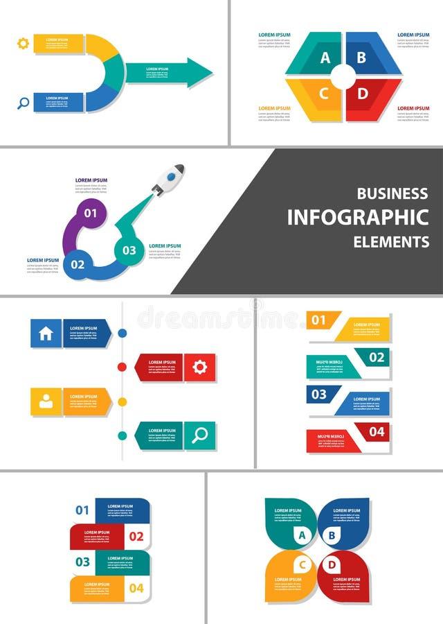Grupo liso do projeto do elemento infographic de múltiplos propósitos do homem de negócios ilustração royalty free