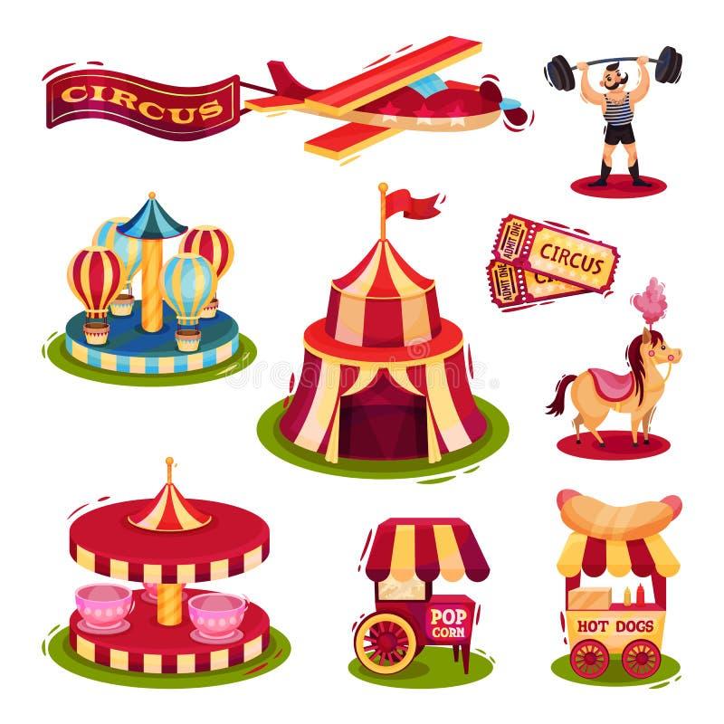 Grupo liso do vetor de ícones do circo Carrosséis, carros com fast food, bilhetes, homem forte, plano com bandeira ilustração do vetor