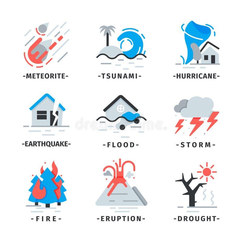 Grupo liso do vetor de ícones da catástrofe natural Meteorito de queda, furacão, erupção do vulcão Catástrofes perigosas ilustração stock