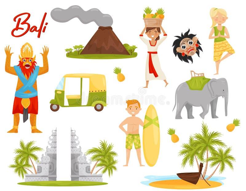 Grupo liso do vetor de ícones relativos ao tema de Bali Vulcão, monumento histórico, transporte, criatura mítico ilustração stock