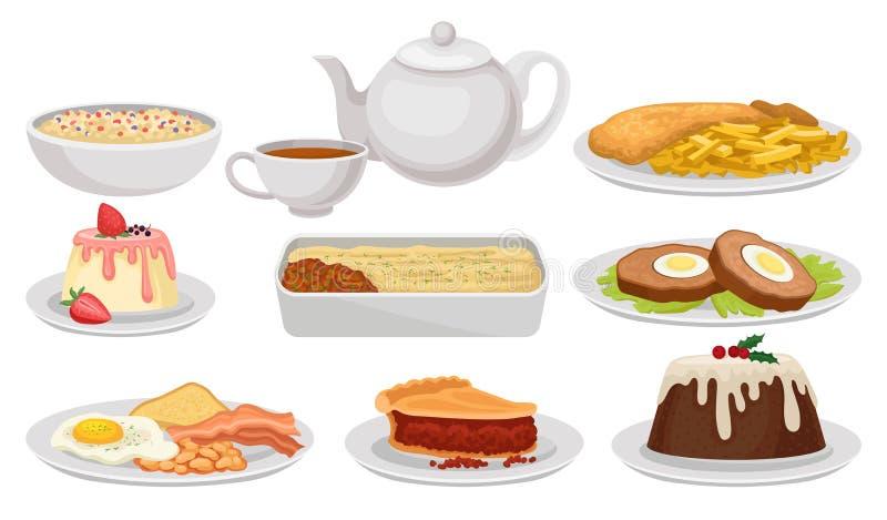 Grupo liso do vetor de alimento inglês tradicional Pratos saborosos, sobremesas e chá Culinária britânica Elementos para o livro  ilustração stock