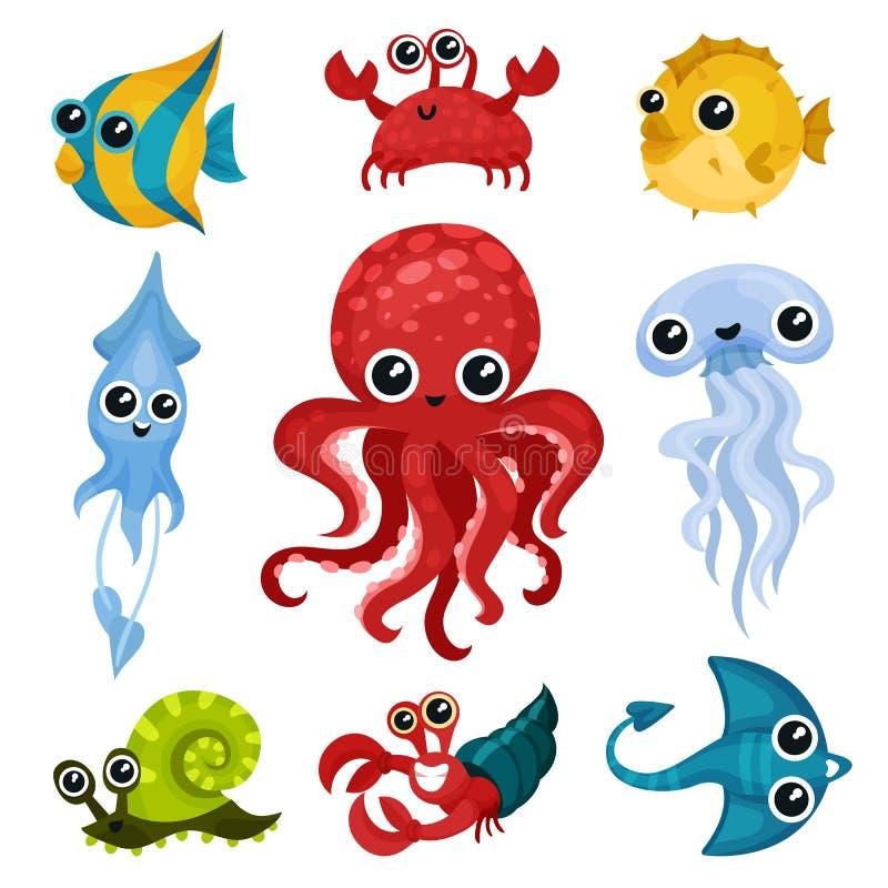 Grupo liso do vetor de animais diferentes do oceano Criaturas marinhas com olhos brilhantes Peixes, polvo, caracol de mar, medusa ilustração do vetor