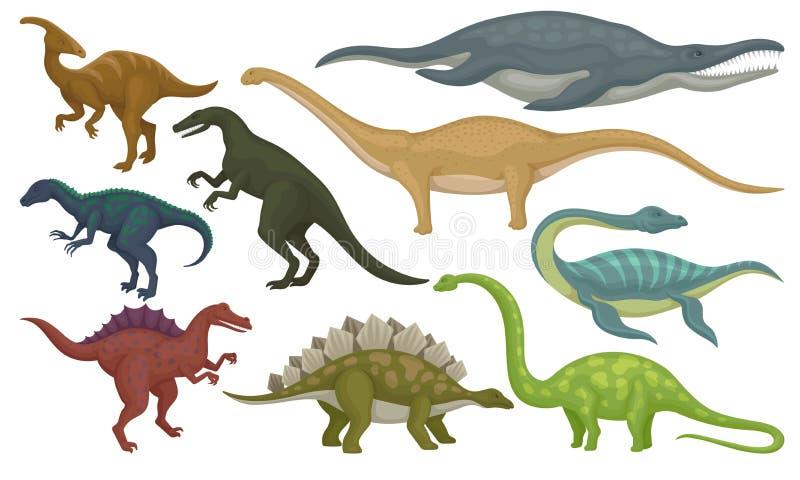 Grupo liso do vetor de animais pré-históricos Dinossauros e monstro de mar Criaturas selvagens do período jurássico ilustração royalty free