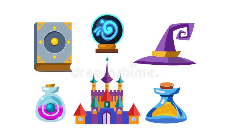 Grupo liso do vetor de artigos fabulosos para o jogo móvel Livro dos períodos, bola mágica, chapéu do feiticeiro, garrafas com el ilustração royalty free