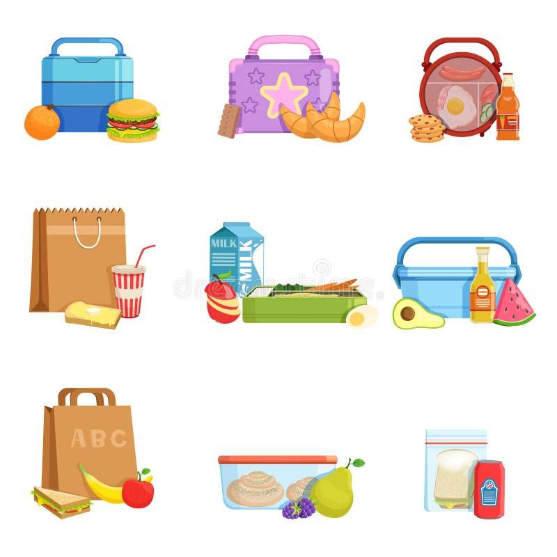 Grupo liso do vetor de caixas e de sacos de almoço escolar com alimento e bebidas Refeição saboroso para crianças ilustração royalty free