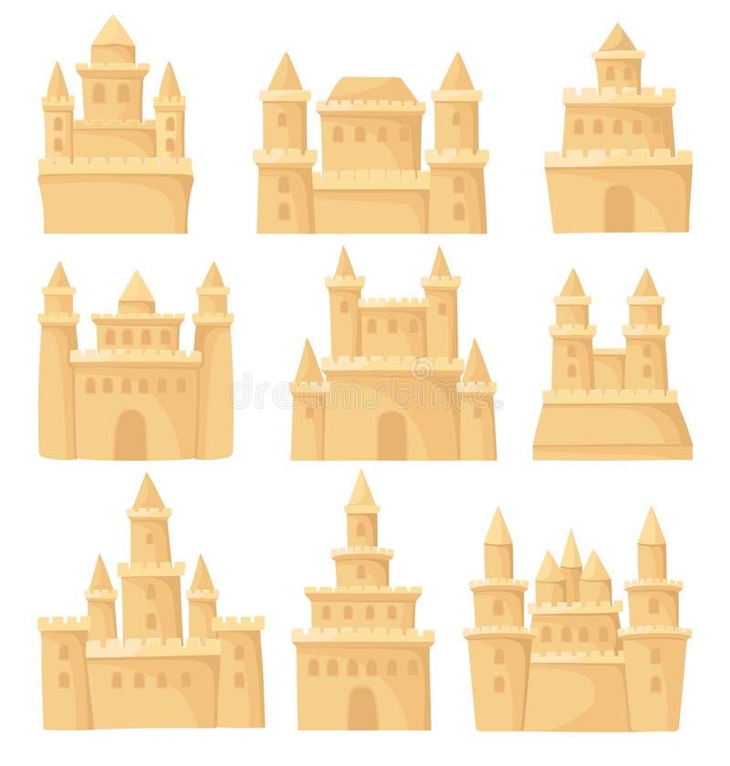 Grupo liso do vetor de castelos diferentes da areia Fortaleza com torres Tema do feriado da praia Elementos para o livro de crian ilustração do vetor