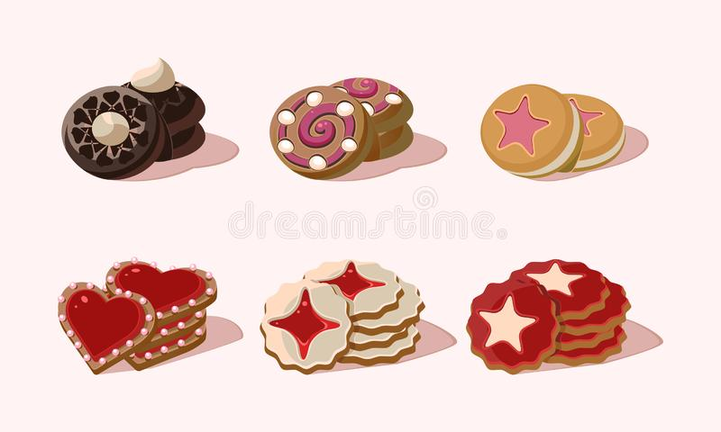 Grupo liso do vetor de cookies com sabores diferentes Petisco delicioso para o alimento do doce do café da manhã Elementos gráfic ilustração royalty free