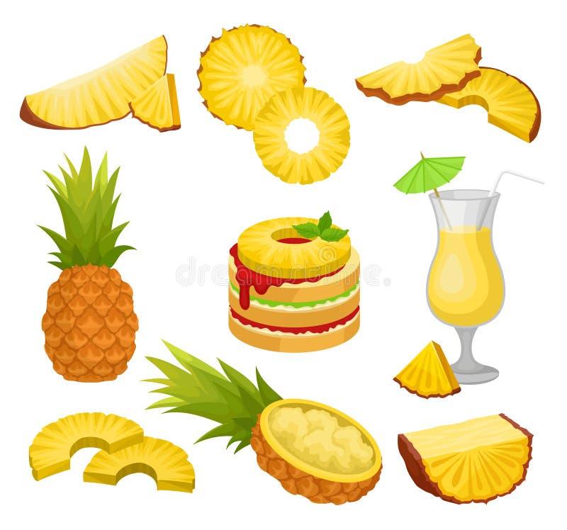 Grupo liso do vetor de corte e abacaxis, bebida do álcool e sobremesa inteiros Fruto tropical suculento Alimento natural e saudáv ilustração royalty free
