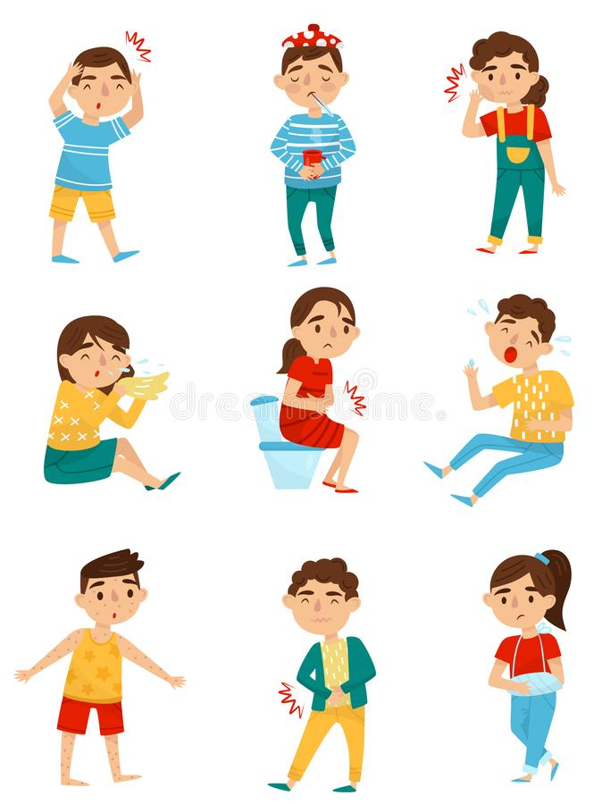 Grupo liso do vetor de crianças doentes Rapazes pequenos e meninas com doenças diferentes Frio, dor de dente, alergia ou ilustração royalty free