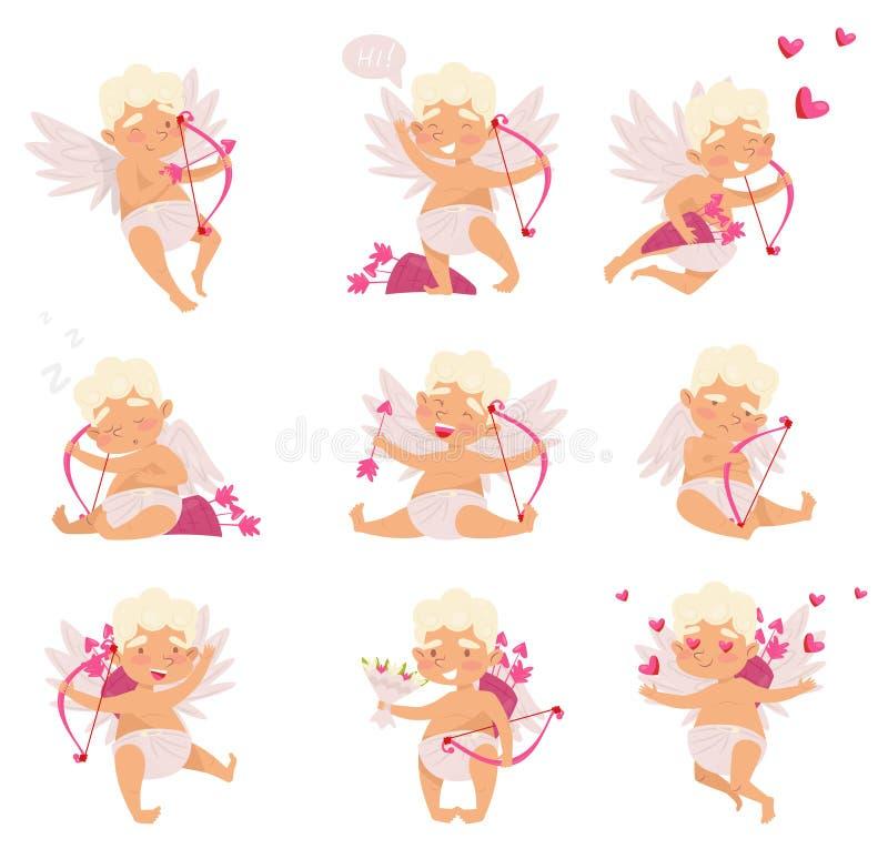 Grupo liso do vetor de cupido bonito em ações diferentes Rapaz pequeno dos desenhos animados com asas Anjo do amor com curva cor- ilustração do vetor