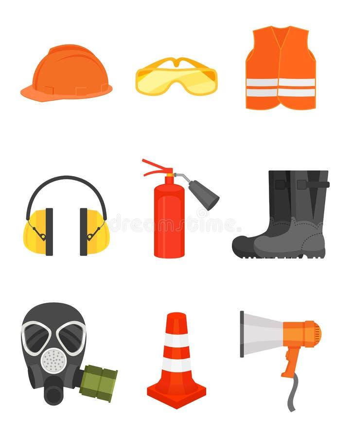 Grupo liso do vetor de equipamento de segurança Desgaste protetor e botas, altifalante, cone do tráfego, máscara de gás e fogo ilustração stock