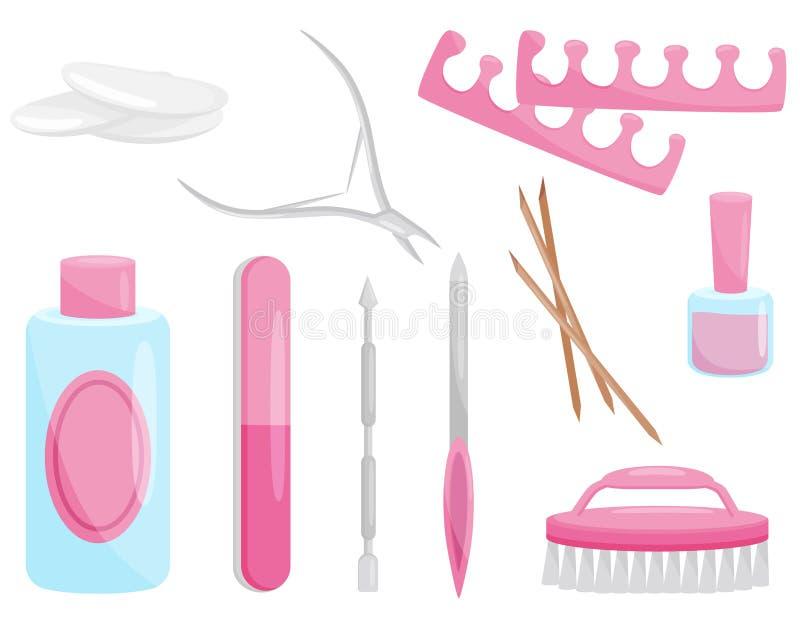 Grupo liso do vetor de ferramentas do tratamento de mãos e do pedicure Instrumentos profissionais para o cuidado do prego Tema da ilustração stock