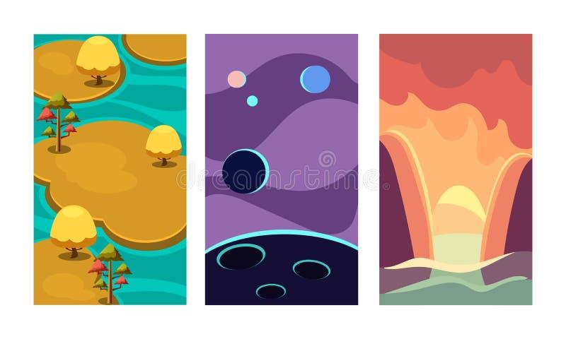 Grupo liso do vetor de fundos para o jogo móvel Cenas com as ilhas cercadas pela água, pelos planetas do cosmos e pelas montanhas ilustração do vetor