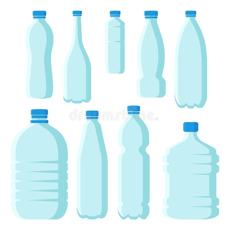 Grupo liso do vetor de garrafas plásticas pequenas e grandes com tampas azuis Recipientes transparentes vazios para a água minera ilustração royalty free