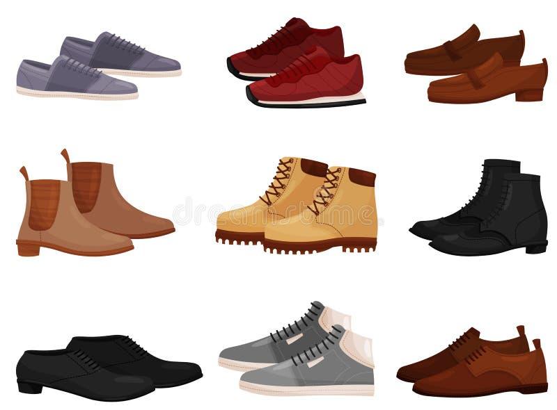 Grupo liso do vetor de homem diferente e de sapatas fêmeas, vista lateral Calçados ocasionais e formais dos homens Tema da forma ilustração royalty free